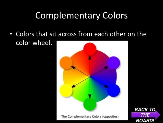Complementary Colors• Colors that sit across from each other on the  color wheel.                                         ...