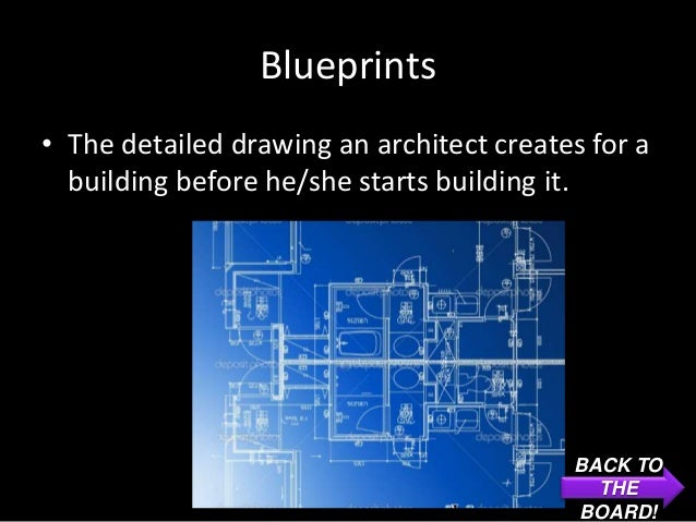 Blueprints• The detailed drawing an architect creates for a  building before he/she starts building it.                   ...