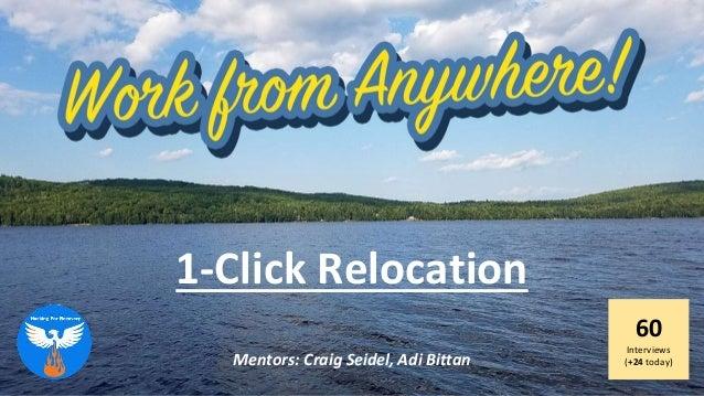 1-Click Relocation 60 Interviews (+24 today)Mentors: Craig Seidel, Adi Bittan