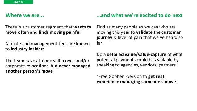 Where we are... Find as many people as we can who are moving this year to validate the customer journey & level of pain th...