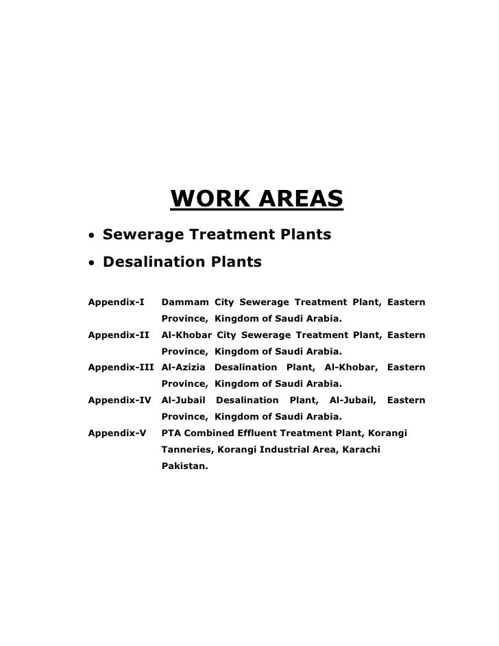 WORK AREAS • Sewerage Treatment Plants • Desalination Plants  Appendix-I    Dammam City Sewerage Treatment Plant, Eastern ...