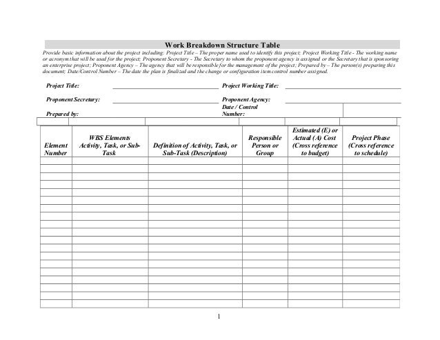 Work breakdownstructuretabletemplate – Work Breakdown Structure Template