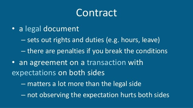 Contract • a legal document – sets out rights and duties (e.g. hours, leave) – there are penalties if you break the condit...