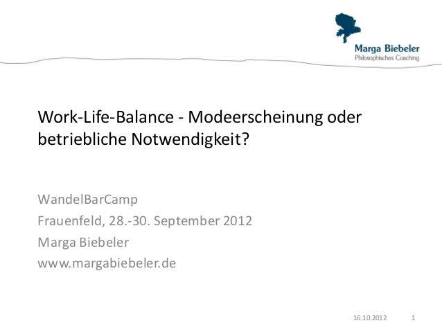 Work-Life-Balance - Modeerscheinung oderbetriebliche Notwendigkeit?WandelBarCampFrauenfeld, 28.-30. September 2012Marga Bi...