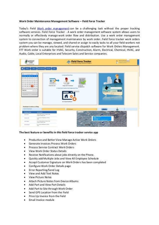Work Order Maintenance Management Software Field Force Tracker - Work order invoice software