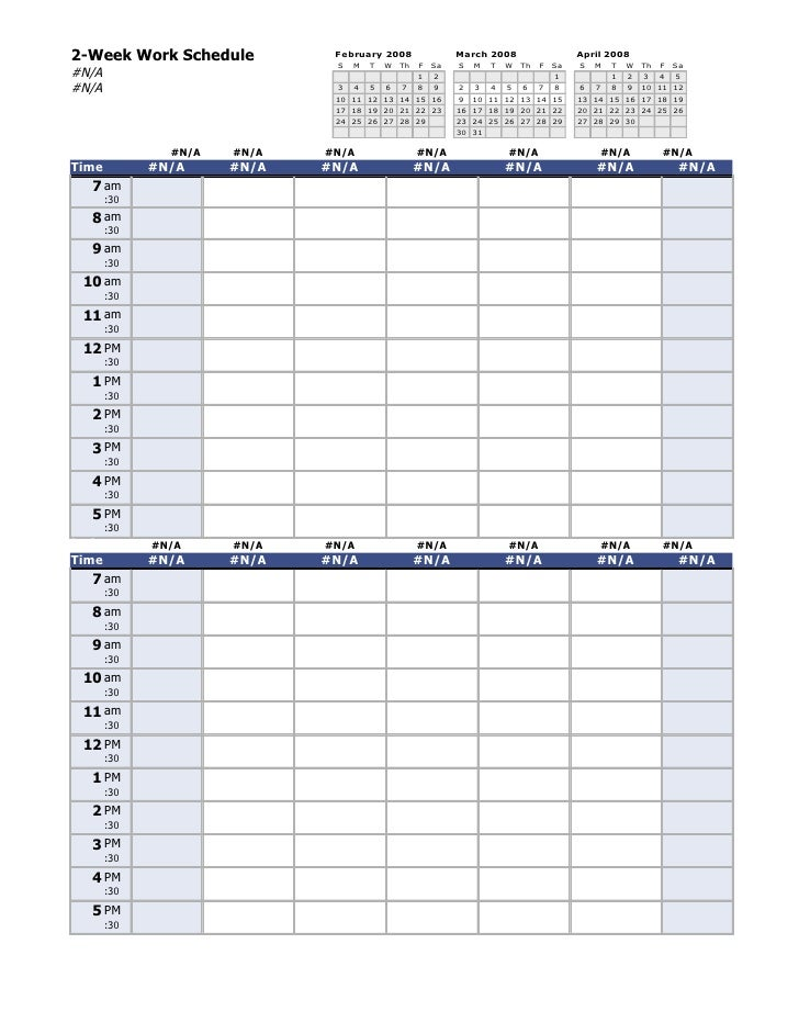 2-Week Work Schedule          February 2008                 March 2008                    April 2008                      ...