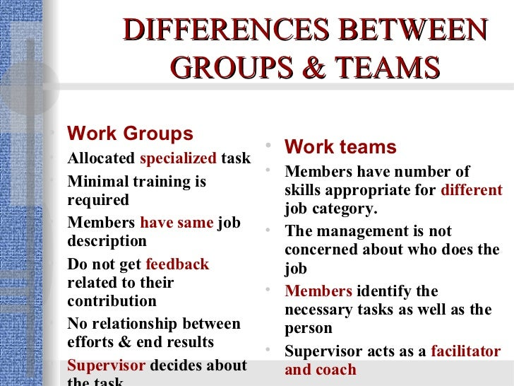 work teams What is a team in the best of all possible worlds, teams are formed deliberately and carefully to meet work needs that an individual or a group of individuals cannot meet as effectively although many groups are called teams, not every work group is a team in a work group, performance is a.