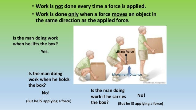 Work Think about pushing on wall that does not move. A force is applied but the wall has not moved a distance. Is work don...