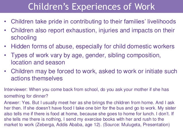 How Does Working Affect Children's Well-being? Evidence ...