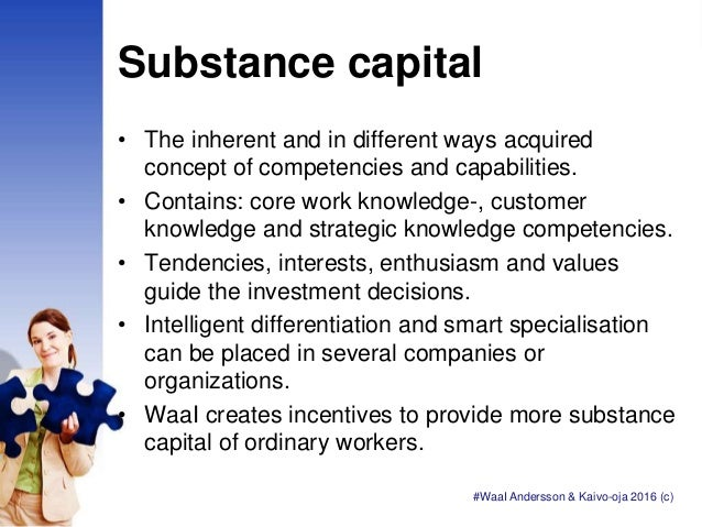 Substance capital • The inherent and in different ways acquired concept of competencies and capabilities. • Contains: core...