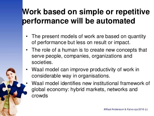 Work based on simple or repetitive performance will be automated • The present models of work are based on quantity of per...
