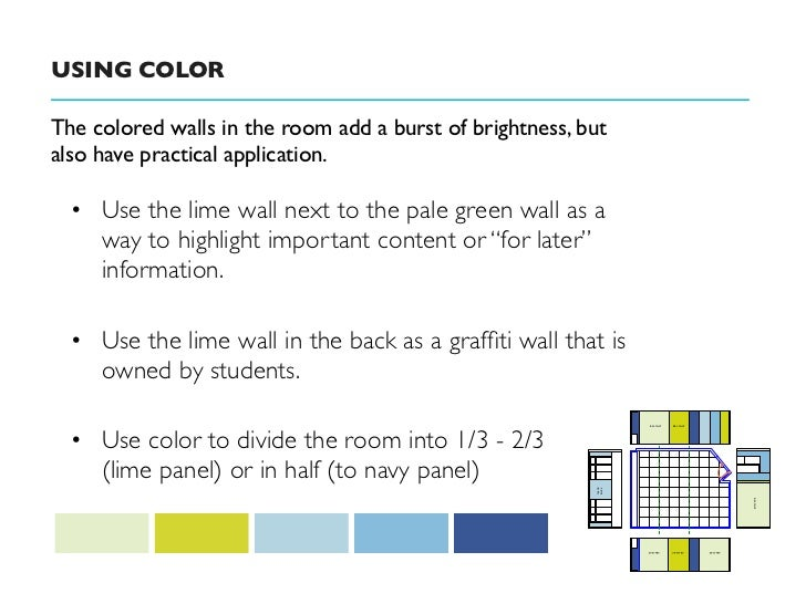 USING COLORThe colored walls in the room add a burst of brightness, butalso have practical application.  • Use the lime wa...