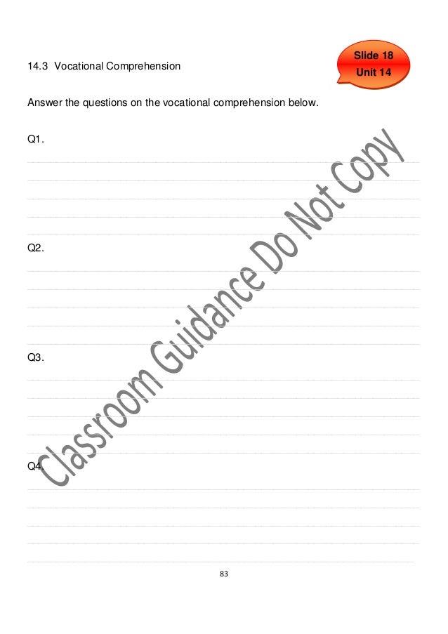 Slide 1814.3 Vocational Comprehension                                                              Unit 14Answer the quest...