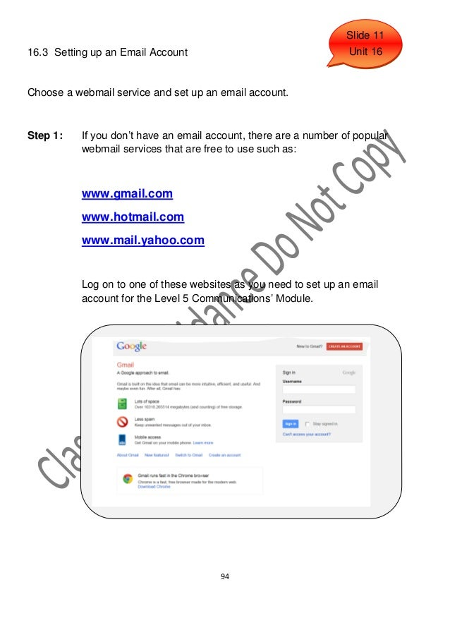 Slide 1116.3 Setting up an Email Account                                   Unit 16Choose a webmail service and set up an e...