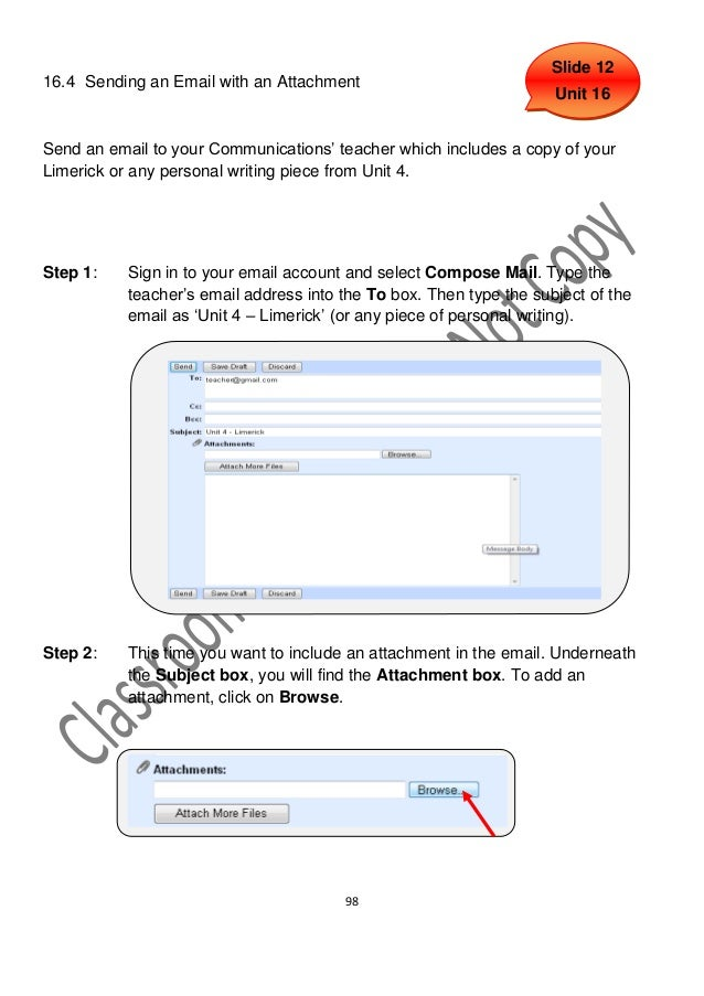 Slide 1216.4 Sending an Email with an Attachment                                                                     Unit ...