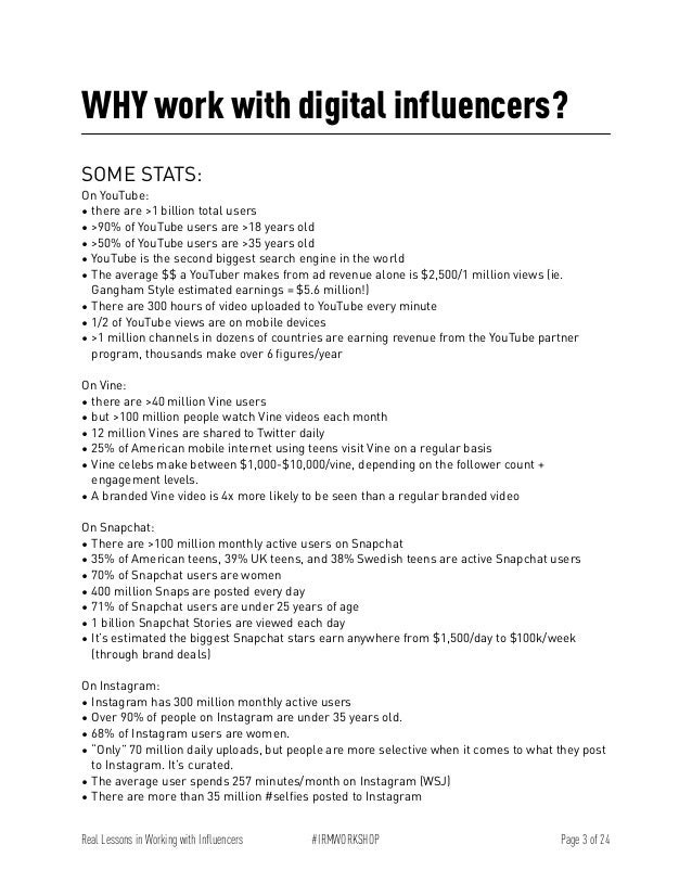 Workbook - Real Lessons in Working with Digital Influencers Slide 3