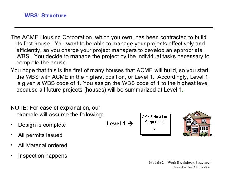 WBS: Structure <ul><li>The ACME Housing Corporation, which you own, has been contracted to build its first house.  You wan...