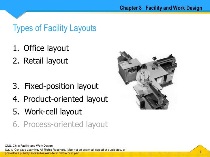 Chapter 8   Facility and Work Design<br />Types of Facility Layouts<br />Office layout <br />Retail layout  <br />Fixed-po...