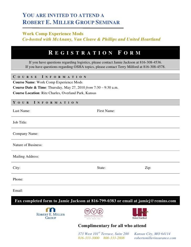 Work Comp Seminar May 27 2010 Invitation & Registration Form
