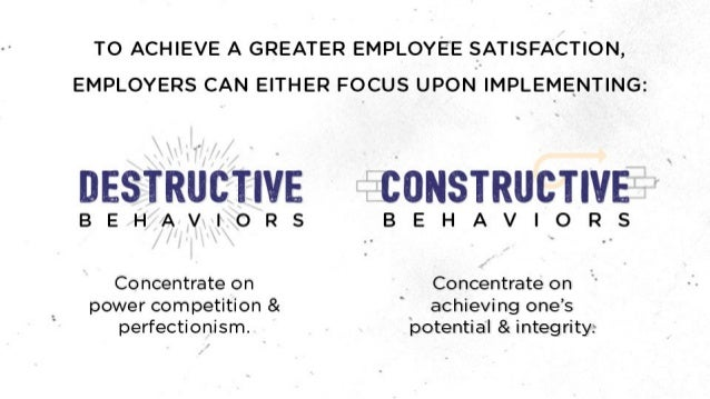 """TO ACHIEVE A GREATER EMPLOYEE SATISFACTION,   EMPLOYERS CAN EITHER FOCUS UPON IMPLEMENTING:   I: """"<5Iif~: m'""""zv Fa Ix: '.I..."""