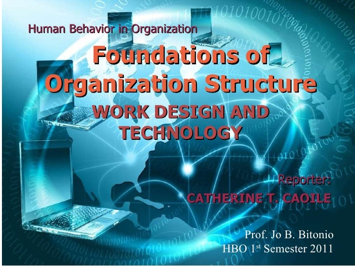 Human Behavior in Organization Foundations of Organization Structure WORK DESIGN AND TECHNOLOGY Reporter: CATHERINE T. CAO...