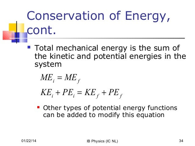 Work, energy and power Formula Of Mechanical Energy