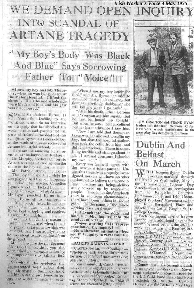 Death in Artane - Irish Workers' Voice May 1935