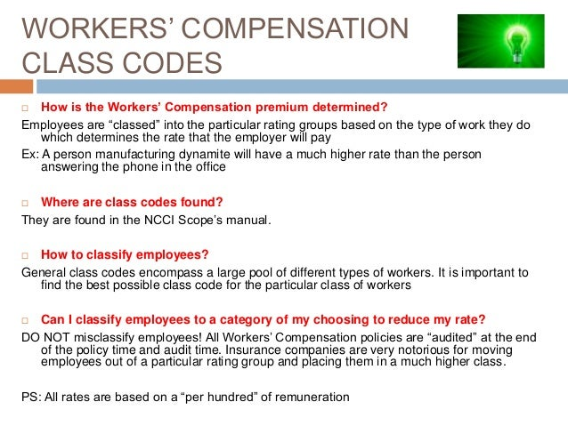 workers compensation insider secrets for electrical contractors rh slideshare net Insurance Classification Codes Workers' Compensation Classification Codes