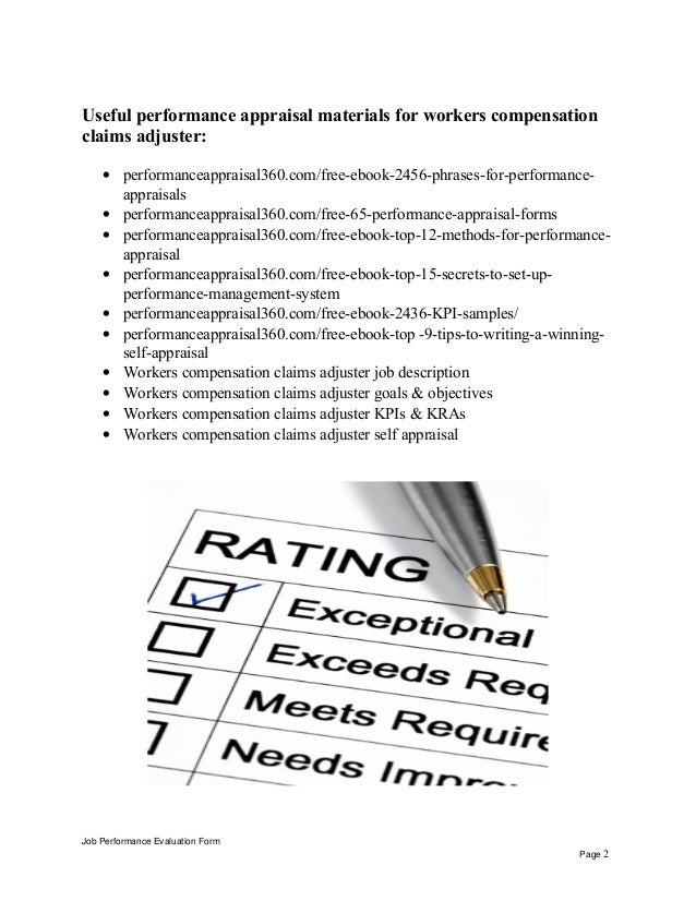 Workers Compensation Claims Adjuster Performance Appraisal