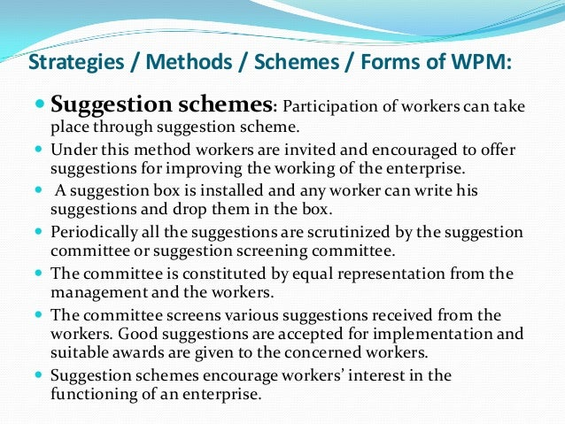 workers participation in management management essay One of the gratest and benefit of participation is the increased work ownership of employee this improves performance and efficiency at work msg management study guide participative management participation and performance - importance of participation.