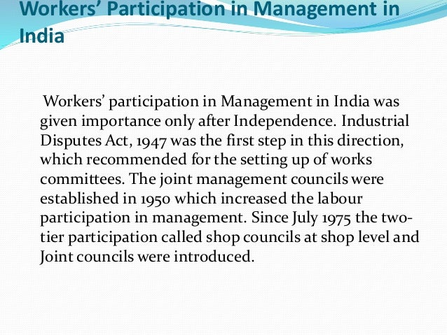 """participation management Concept of participation the concept of """" participative management """" is closely related with the concept of industrial democracy participative management means involving workers in the decision making process."""