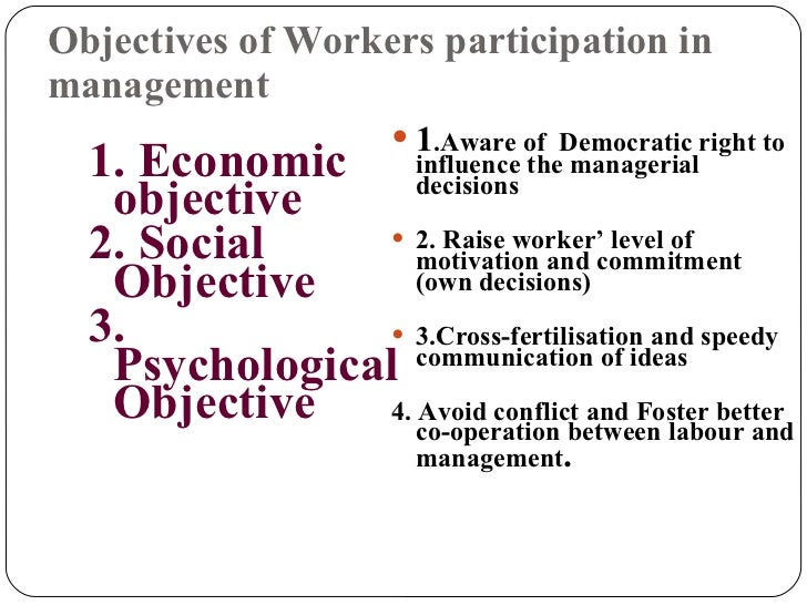 management control and workers participation Controlled for the influence of the other forms because of the potential for  ma  conte and j svejnar, productivity effects of worker participation on whether the.
