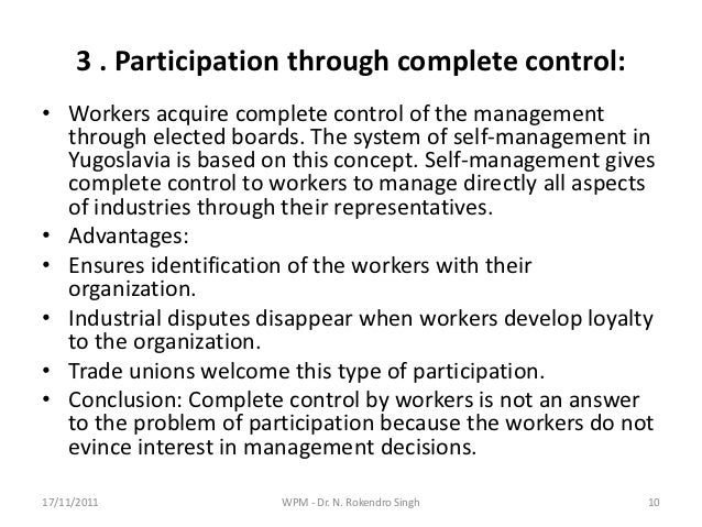 questionnaire for workers participation in management Management training needs assessment survey questionnaire final report the scope of work and related elements that encourage managers' participation.