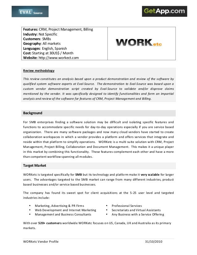 WORKetc  Vendor  Profile      31/10/2010      Features:  CRM,  Project  Management,  Billing  ...
