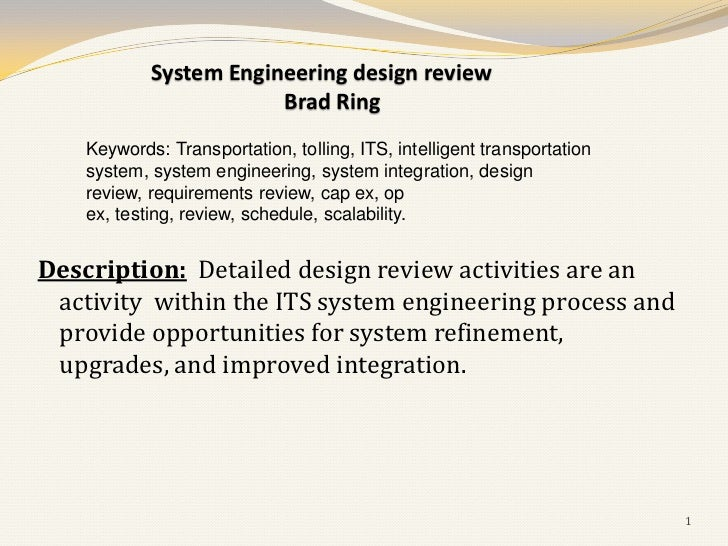 System Engineering design review                        Brad Ring    Keywords: Transportation, tolling, ITS, intelligent t...
