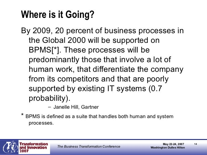 Where is it Going? <ul><li>By 2009, 20 percent of business processes in the Global 2000 will be supported on BPMS[*]. Thes...