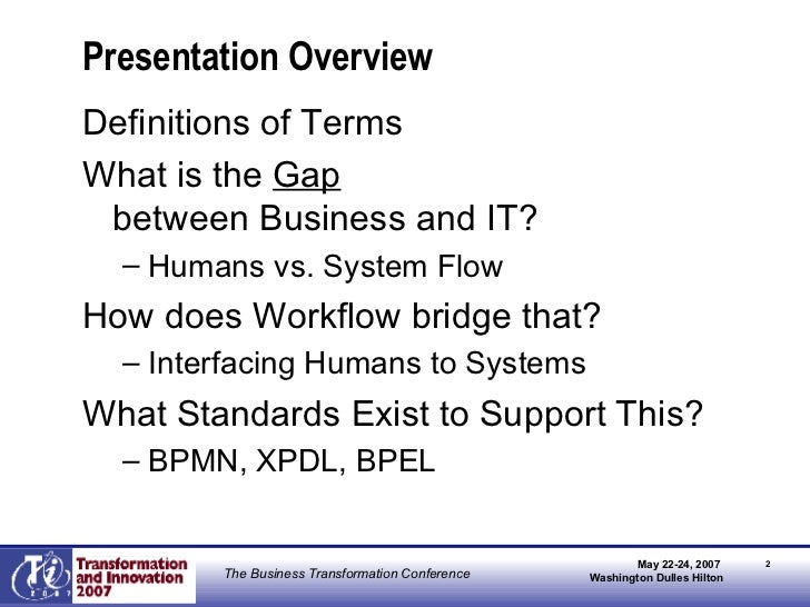 Presentation Overview <ul><li>Definitions of Terms </li></ul><ul><li>What is the  Gap   between Business and IT? </li></ul...