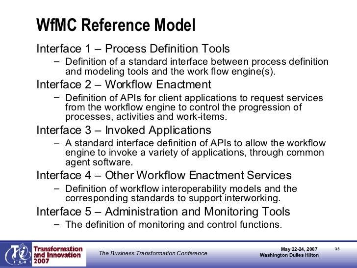 WfMC Reference Model <ul><li>Interface 1 – Process Definition Tools </li></ul><ul><ul><li>Definition of a standard interfa...