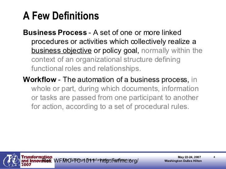 A Few Definitions <ul><li>Business Process  - A set of one or more linked procedures or activities which collectively real...