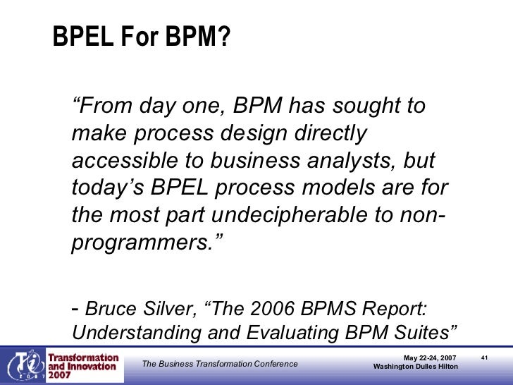 """BPEL For BPM? <ul><li>"""" From day one, BPM has sought to make process design directly accessible to business analysts, but ..."""