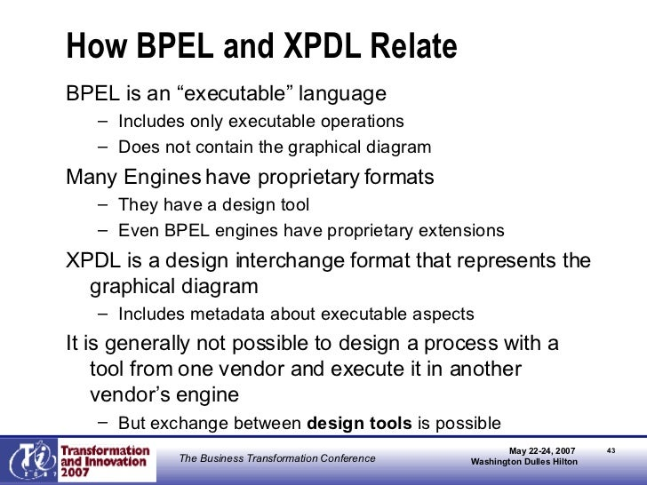 """How BPEL and XPDL Relate <ul><li>BPEL is an """"executable"""" language </li></ul><ul><ul><li>Includes only executable operation..."""
