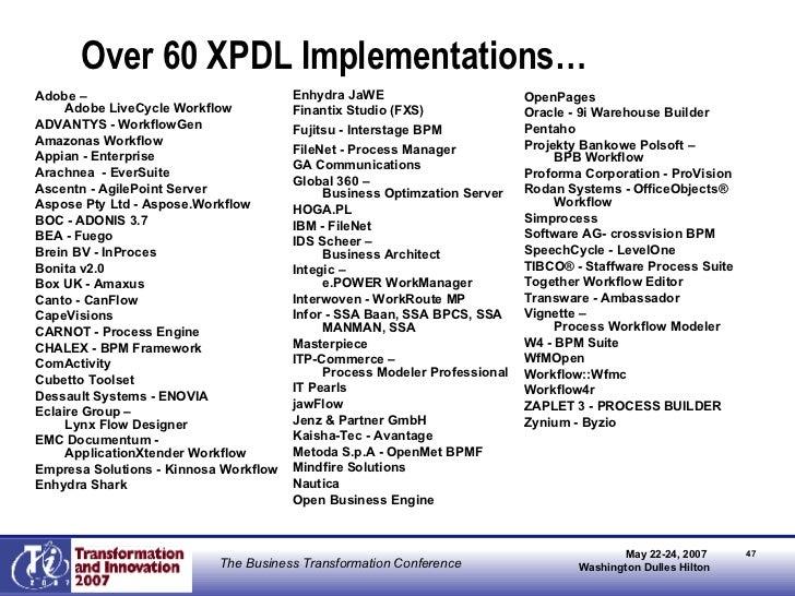 Over 60 XPDL Implementations… <ul><li>Adobe –  Adobe LiveCycle Workflow  </li></ul><ul><li>ADVANTYS - WorkflowGen </li></u...