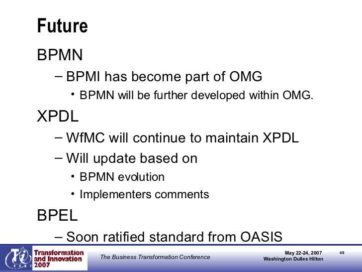 Future <ul><li>BPMN </li></ul><ul><ul><li>BPMI has become part of OMG </li></ul></ul><ul><ul><ul><li>BPMN will be further ...