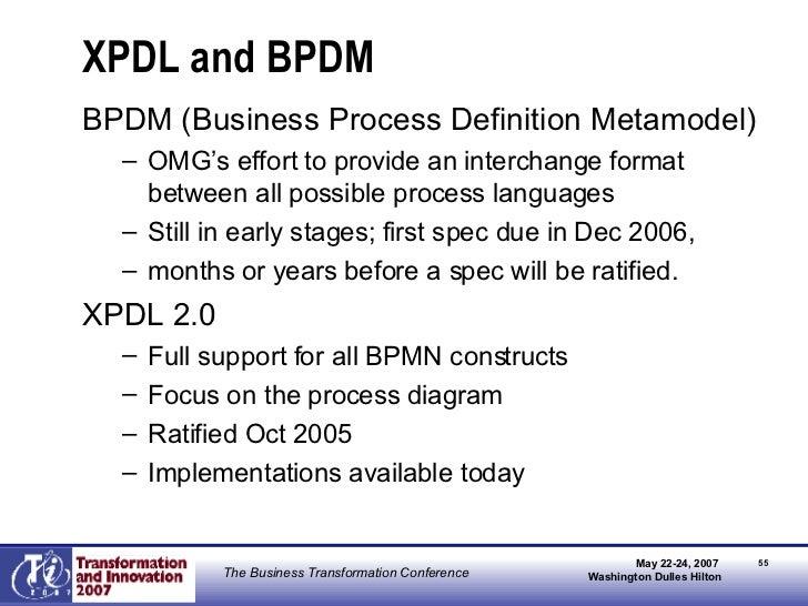 XPDL and BPDM <ul><li>BPDM (Business Process Definition Metamodel) </li></ul><ul><ul><li>OMG's effort to provide an interc...