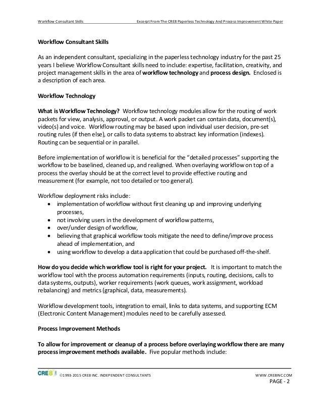 Workflow Consultant Skills