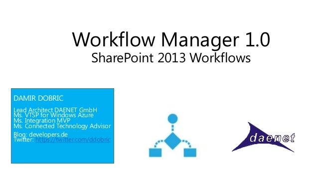 Workflow Manager 1.0                            SharePoint 2013 WorkflowsDAMIR DOBRICLead Architect DAENET GmbHMs. VTSP fo...