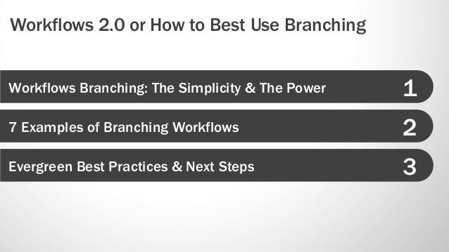 Workflows 2.0 or How to Best Use Branching Slide 3