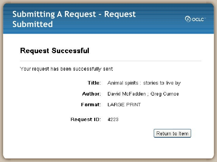 Submitting A Request – Request Submitted