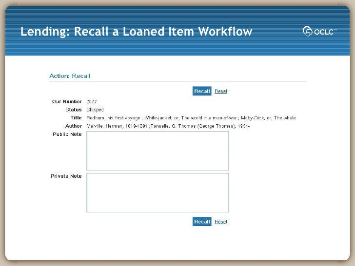 Lending: Recall a Loaned Item Workflow