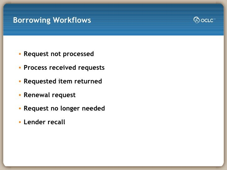Borrowing Workflows <ul><li>Request not processed </li></ul><ul><li>Process received requests </li></ul><ul><li>Requested ...